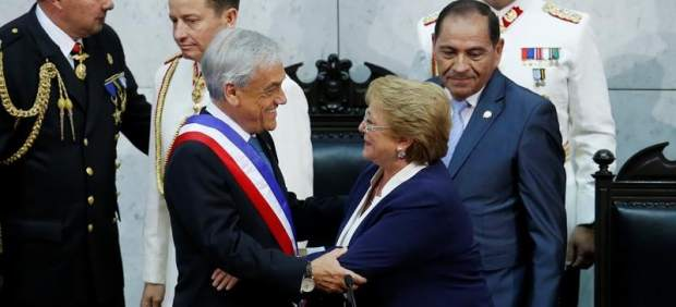 Sebastian Pinera lors de son investiture le 11 Mars 2018, succédant à la socialiste Michelle Bachelet